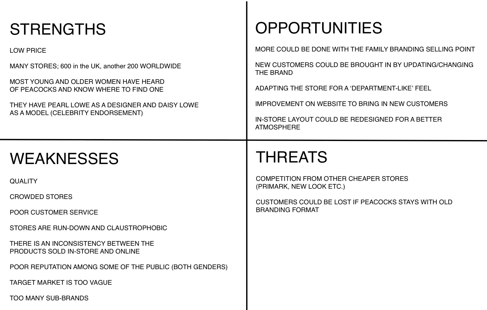 swot analysis macy s inc A business analysis of macy's inc, a departmental store chain company headquartered in cincinnati, ohio is provided, focusing on its strengths, weaknesses, opportunities for improvement and threats to the company.